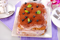 Blueberry tiramisu cake Royalty Free Stock Photography