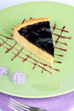 Blueberry and vanilla custard cream tart Stock Images