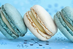 Blueberry and Vanilla Macarons Royalty Free Stock Photography