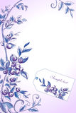 Blueberry vector frame. With label tag Royalty Free Stock Photography