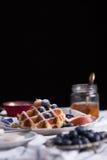 Blueberry waffle Stock Photos