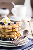 Blueberry waffles Royalty Free Stock Photos
