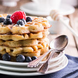 Blueberry waffles closeup Stock Photos