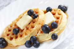 Blueberry waffles on a plate Stock Photos