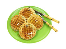 Blueberry Waffles Plate Syrup Royalty Free Stock Images