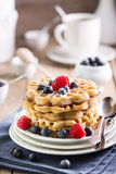 Blueberry waffles Stock Images