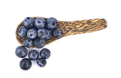Blueberry in wood spoon Royalty Free Stock Photography