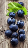 Blueberry on wooden background Stock Images