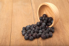 Blueberry in wooden bowl Stock Photo