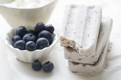Blueberry yoghurt ice cream popsicle. Blueberry yoghurt honey ice cream popsicle stock photos