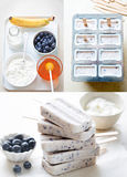Blueberry yoghurt ice cream popsicle step by step. Blueberry yoghurt honey ice cream popsicle step by step recipe stock photo