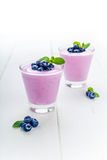 Blueberry yoghurt with mint Stock Photography