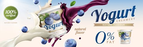 Blueberry yogurt ads. Delicious yogurt commercial with milk and fruit jam splashing together in 3d illustration Royalty Free Stock Image