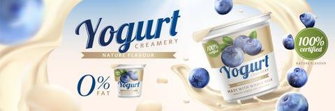 Blueberry yogurt ads. With splashing cream and fruit on bokeh background, 3d illustration stock illustration
