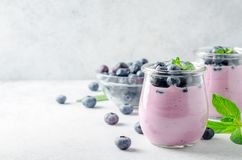 Blueberry yogurt with blueberries and mint. Two glasses of blueberry yogurt with blueberries on a light gray stone background. Front view, copy space, horizontal Royalty Free Stock Image