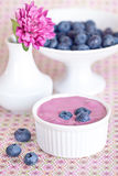 Blueberry yogurt. With a fresh berries in a cup on the table royalty free stock photo