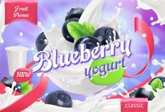 Blueberry yogurt. Fruits and milk splashes. 3d vector. Blueberry yogurt. Fruits and milk splashes. 3d realistic vector package design royalty free illustration