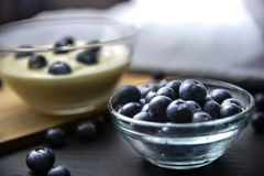 Blueberry yogurt in glass bowl on wooden table Stock Photography