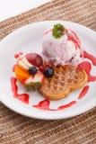 Blueberry yogurt ice cream serve with waffle Royalty Free Stock Photos