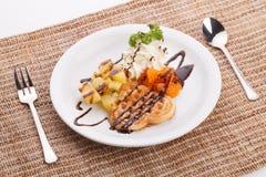 Blueberry yogurt ice cream serve with waffle Stock Images