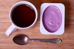 Blueberry yogurt Royalty Free Stock Images