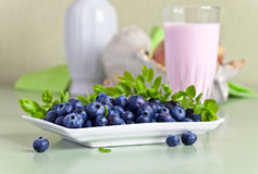 Blueberry yogurt and ripe berries Royalty Free Stock Photos