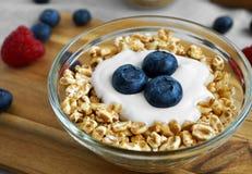 Blueberry Yogurt And Spelt Flakes Breakfast Stock Photo
