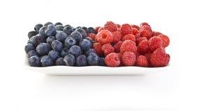 Blueberrys en Rasberrys stock foto's
