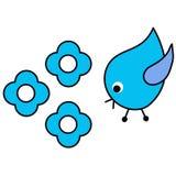 Bluebird. A vector illustration of a bluebird with blue flowers Stock Photo