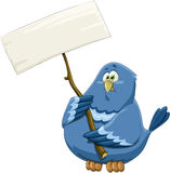 Bluebird. Blue bird with a banner, vector Stock Photos