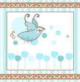 Bluebird Background. Illustration of a bluebird tag design background in brown and blues royalty free illustration