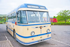 Bluebird bus on tour. A vintage 1950's Bluebird coach bus on tour parked at junction 13 off the M74 motorway Royalty Free Stock Photos
