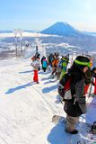 A bluebird day at Hanazono waiting to get up to the peak Royalty Free Stock Photography