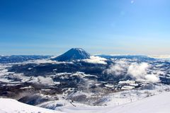 A bluebird day from the peak at Hanazono Stock Images