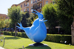 Bluebird of happiness of the Kiwi. Exhibition of modern sculptures. Big Cascade. Royalty Free Stock Images