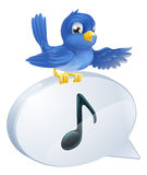 Bluebird musical note speech bubble Royalty Free Stock Photography