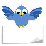 Bluebird Sitting On Blank Banner. Cartoon of a happy bird flapping wings perched on a sign banner with a curled corner royalty free illustration