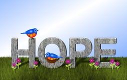 Bluebirds και ξύλινο υπόβαθρο ελπίδας Στοκ Εικόνες
