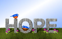 Bluebirds and Wooden Hope Background Stock Images