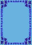 BlueBlossomsFrameDinBlue Royalty-vrije Stock Afbeeldingen