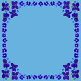 BlueBlossomsFrameSquareBlue Stock Afbeelding