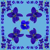 BlueBlossomsNapkinBlue1 Royalty-vrije Stock Foto's