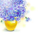 Bluebottle bouquet in yellow vase Stock Photography