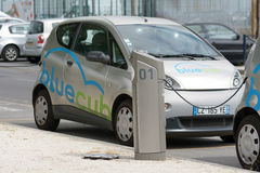BlueCub electric car sharing recharging point in Bordeaux, France. BlueCub urban electric car sharing recharging point in Bordeaux, Franc Stock Images