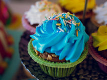 Bluecupcakes结霜了与许多coorful杯形蛋糕 免版税库存图片
