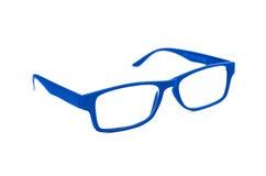 BlueEye-Gläser lokalisiert auf weißer flacher Schärfentiefe und sof Stockfotografie