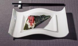 Bluefin tuna tartar Temaki, variant of typical Japanese sushi royalty free stock image