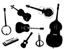 Bluegrass. A collection of typical bluegrass musical instruments in silhouette over a white background Stock Photos