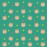 The bluegreen color dear pattern with candy and stars. Royalty Free Stock Photography