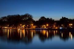 Bluehour στη λίμνη Balaton Στοκ Εικόνες
